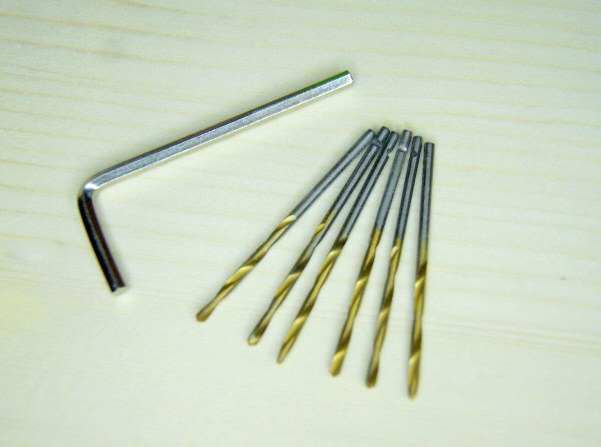 сверла диаметром 3 мм и шестигранный ключ