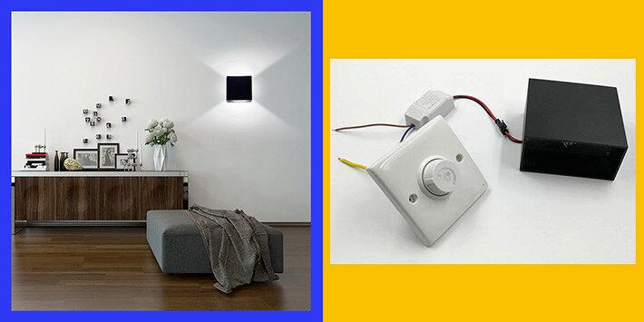 Стильные настенные светильники из металла с плавной регулировкой яркости