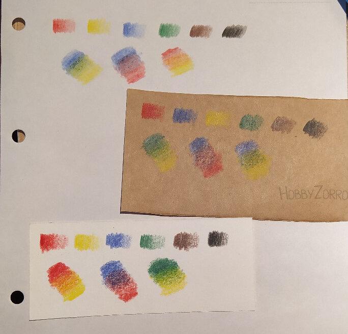 Выкраска карандашей на разной бумаге